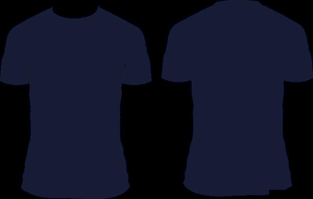 Pohled zepředu a zezadu na triko