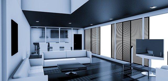 Obývací pokoj s černým stropem